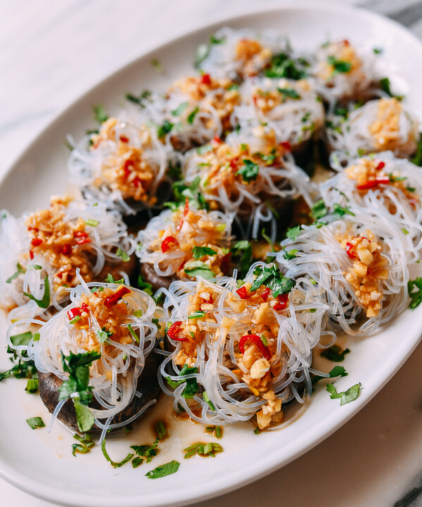 Spicy Garlic Shiitake Mushrooms with Glass Noodles