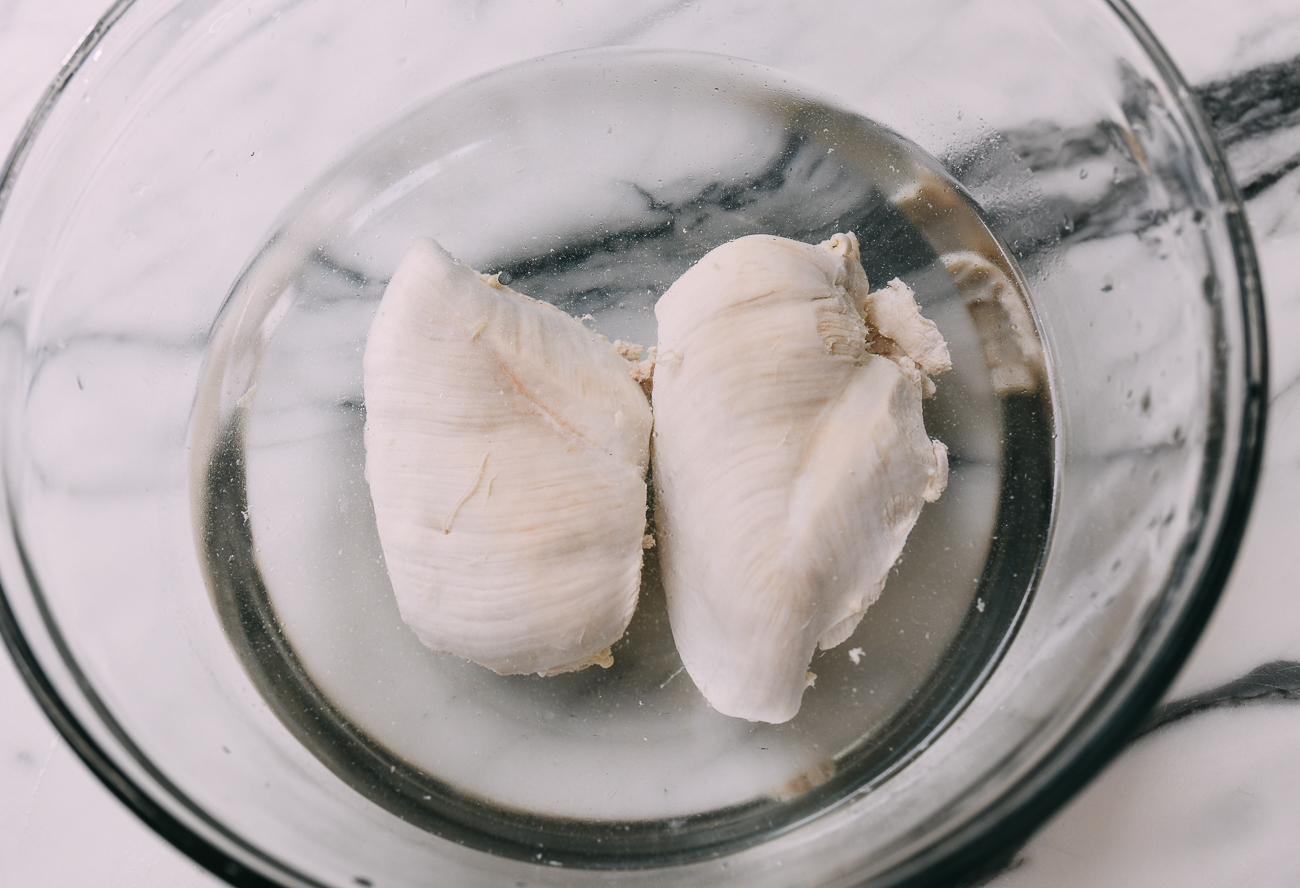 Poached Chicken Breast in cool water