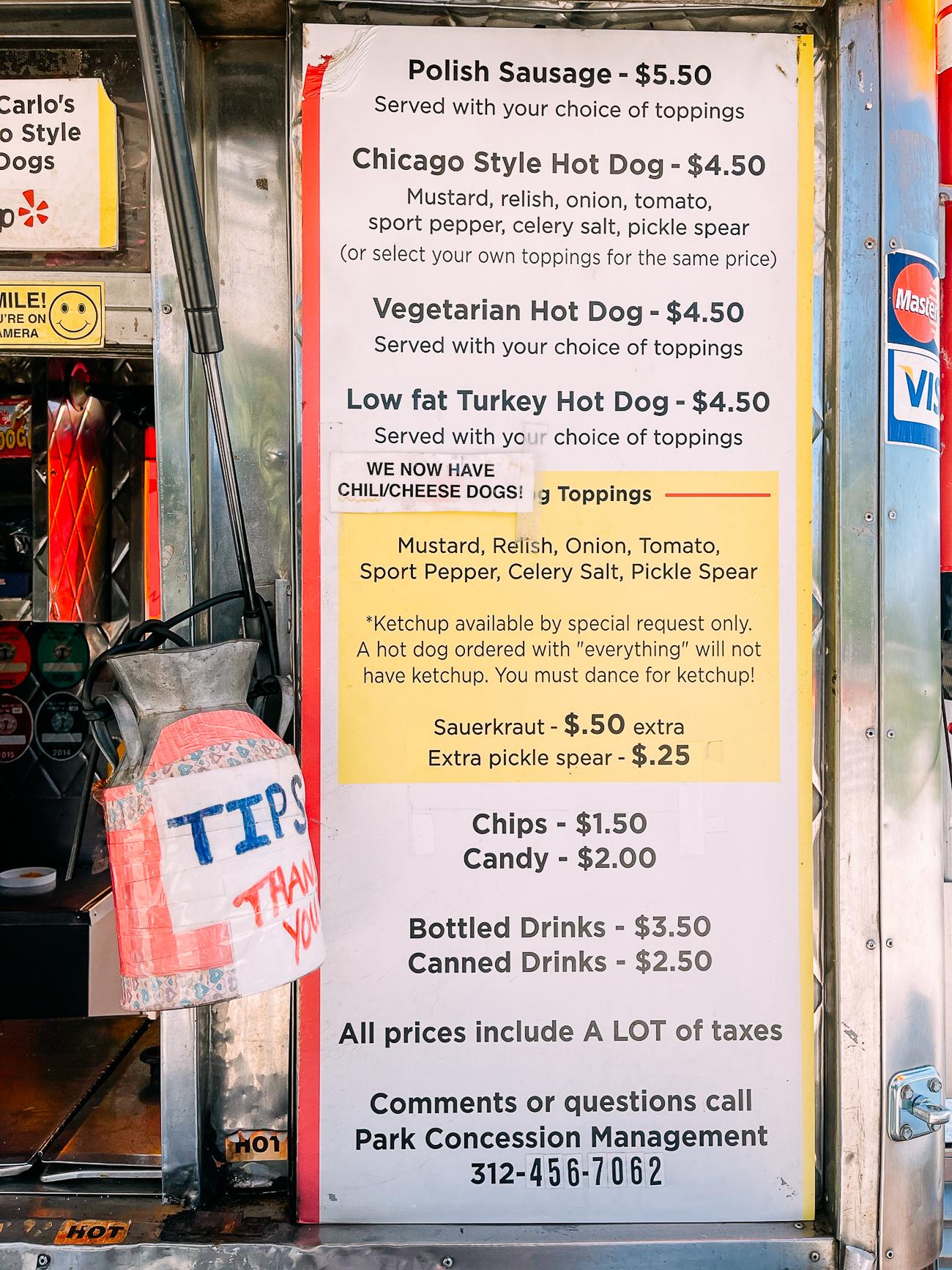 Chicago Hot Dog Cart Sign