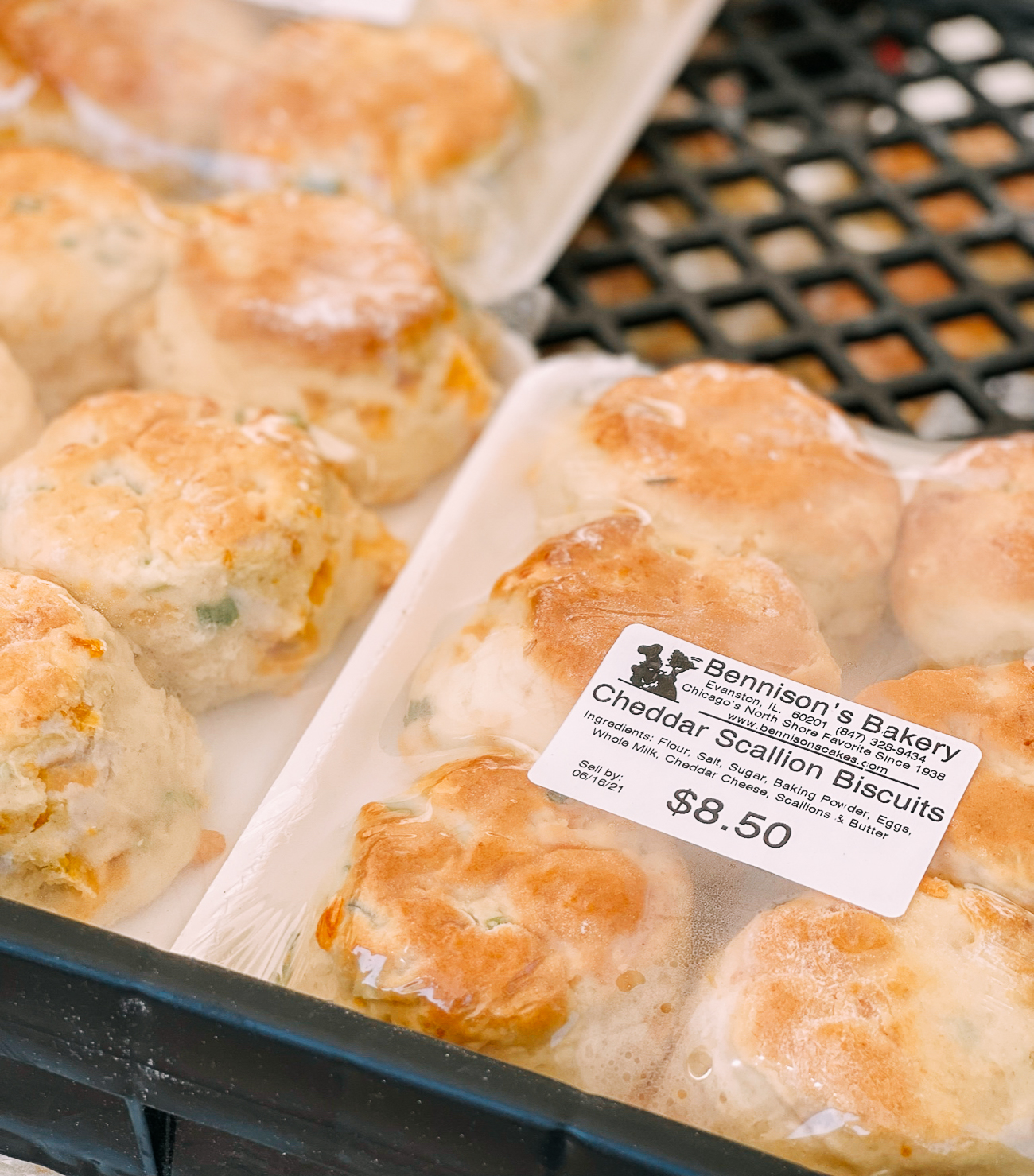 Biscuits for sale from Bennison's Bakery at farmer's market in Chicago