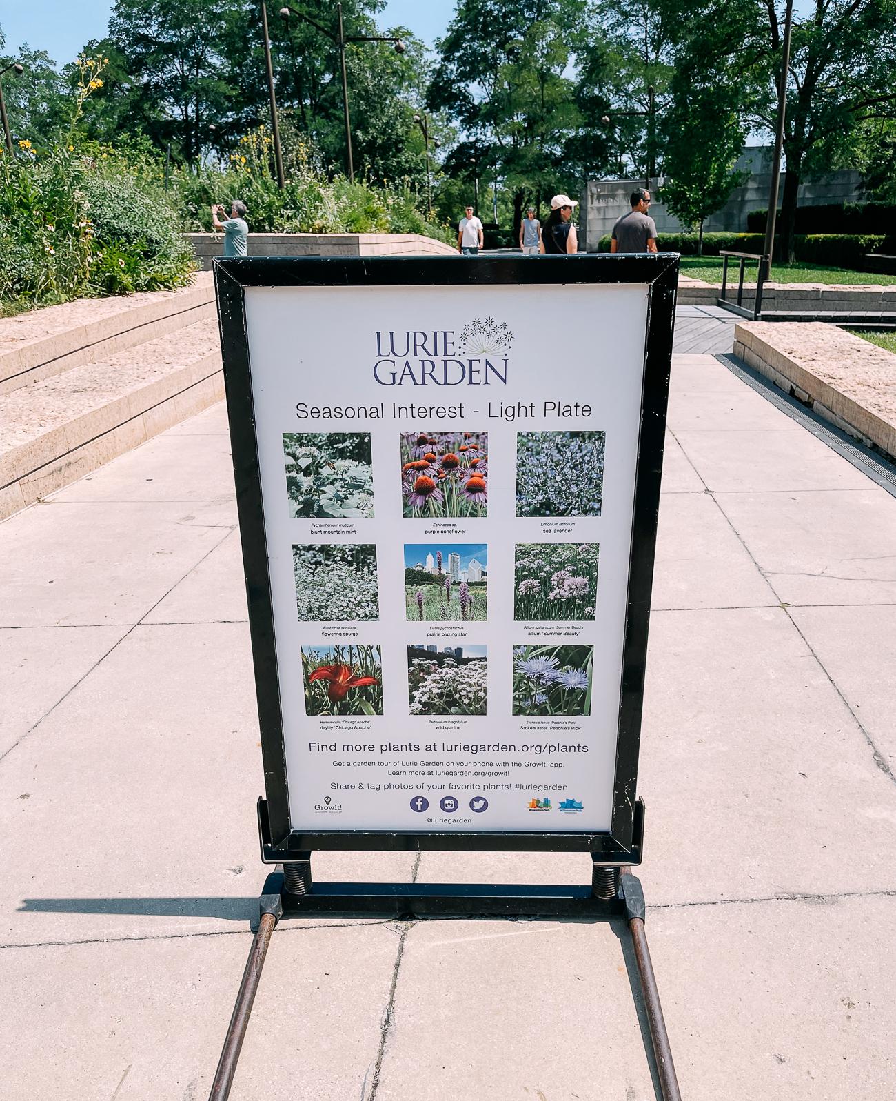 Lurie Garden Sign in Millennium Park