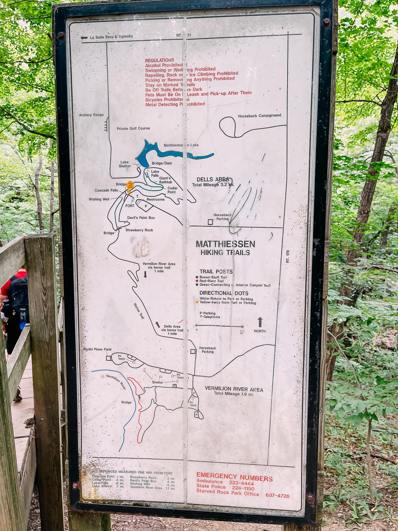 Matthiessen State Park Trail Map Sign