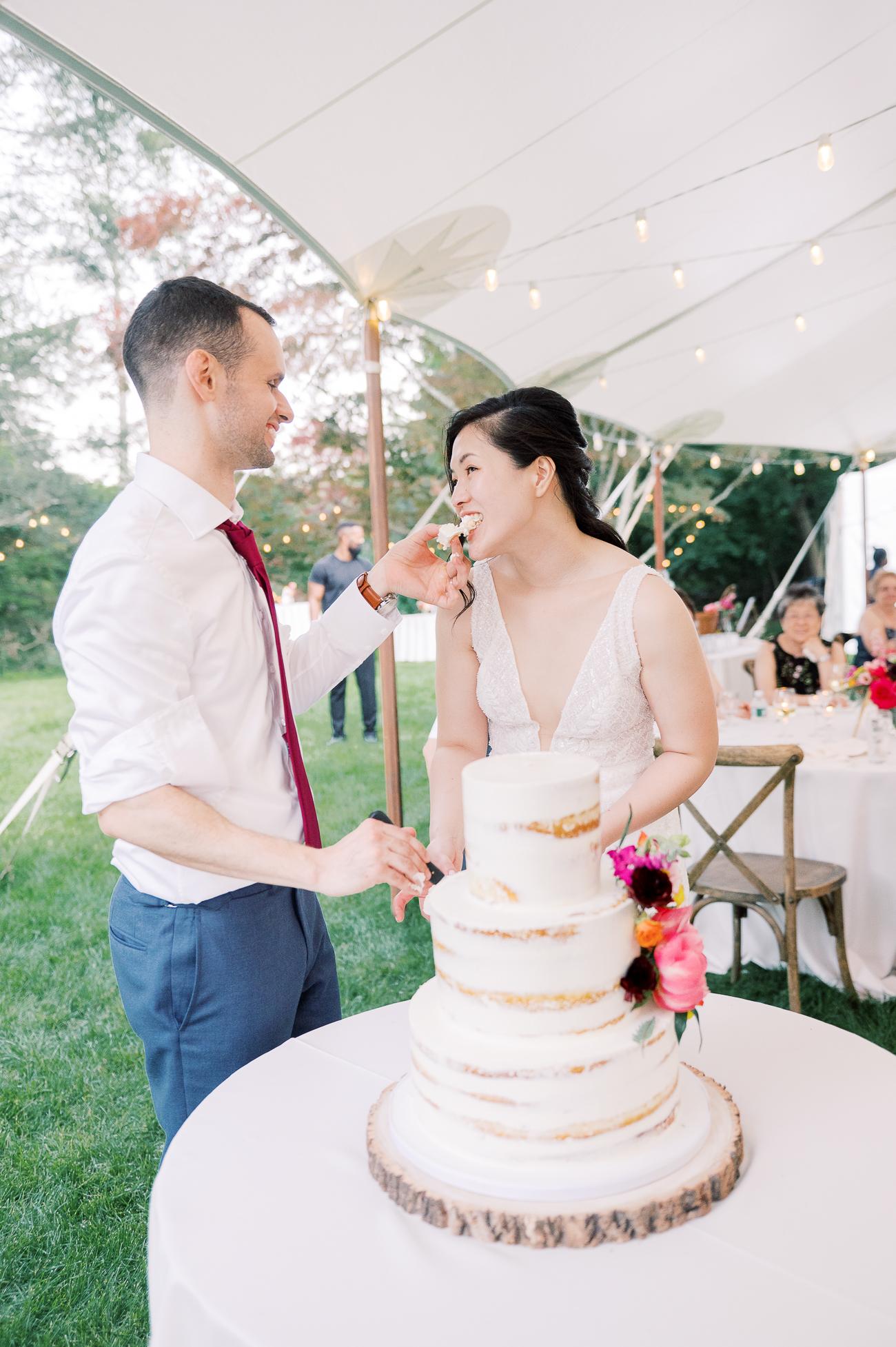 Sarah and Justin's cake cutting