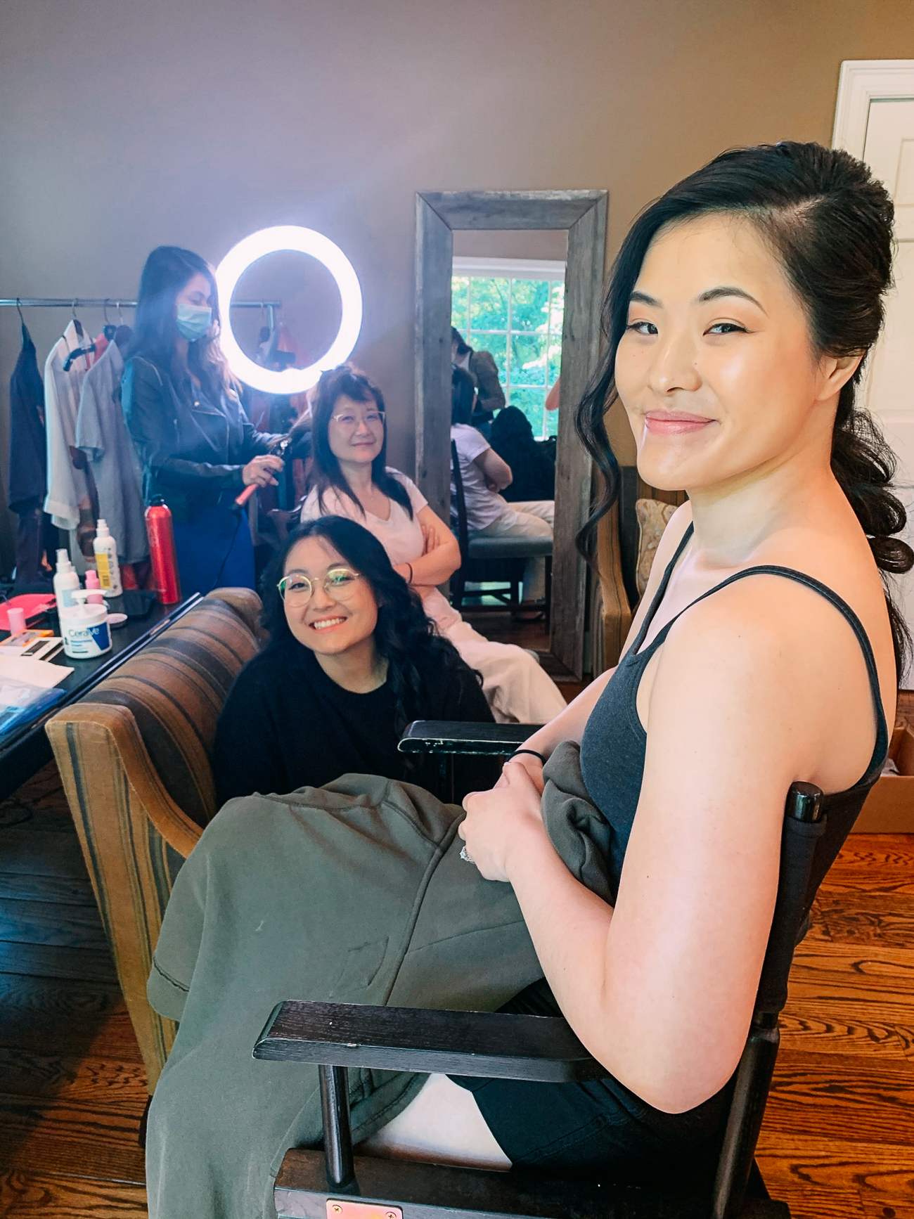 Sarah, Kaitlin, and Judy getting hair and makeup done
