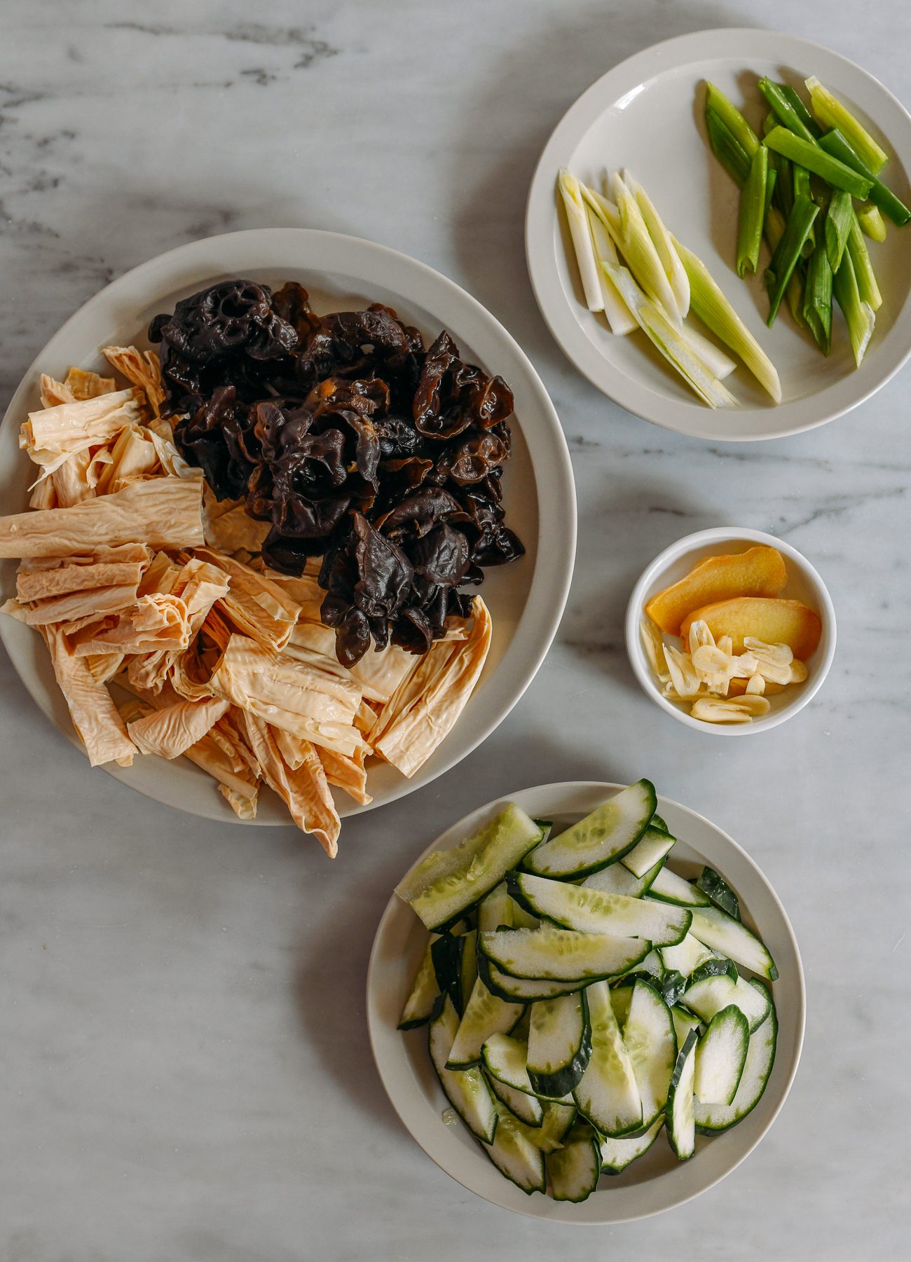 Bean Threads, Wood Ears, Cucumbers for stir-fry