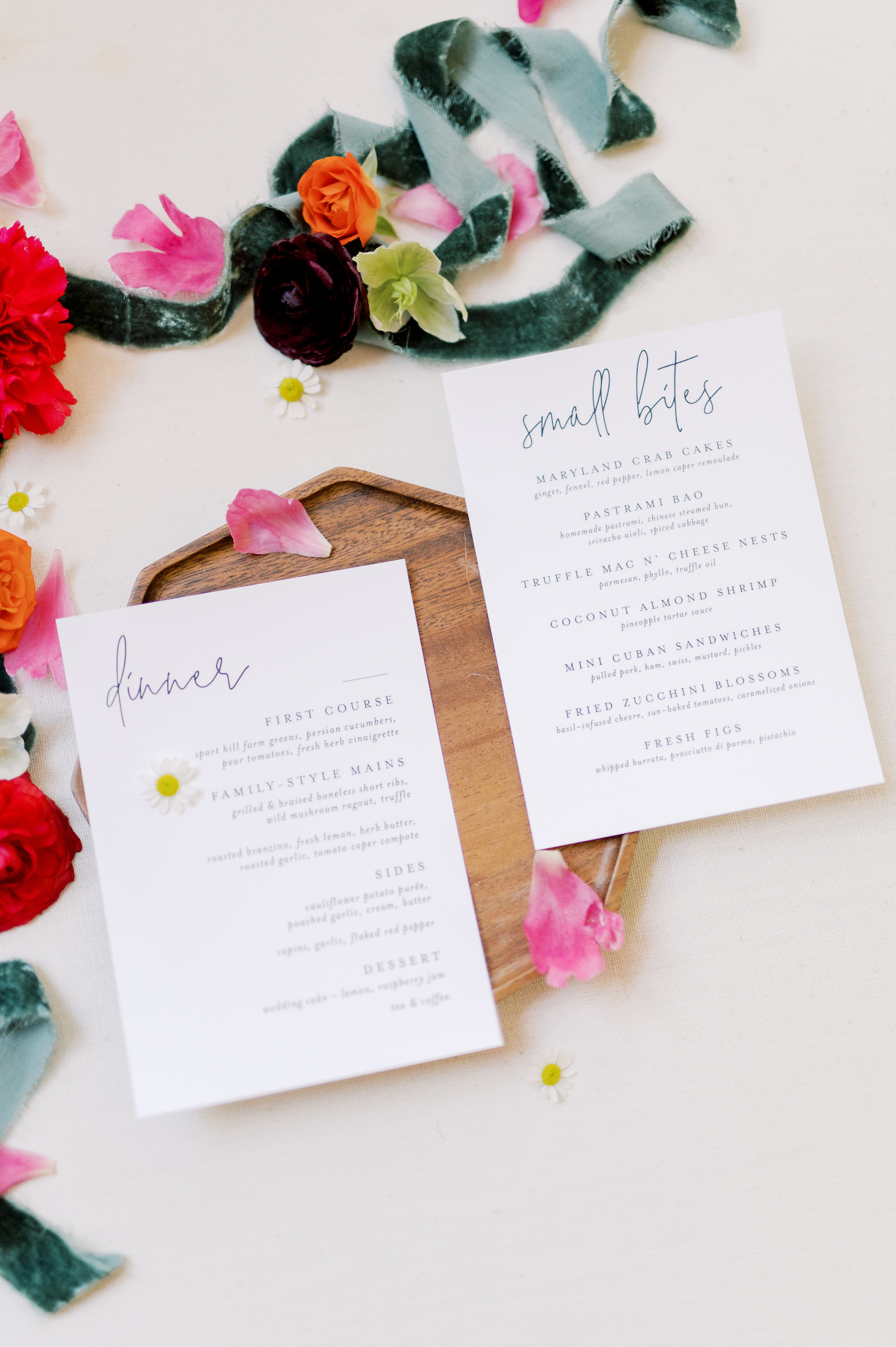 Menus for dinner and cocktail hour