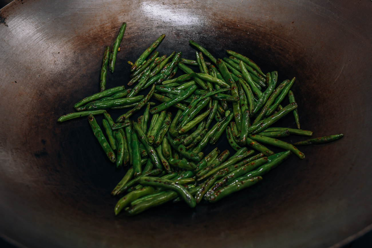 Searing green beans in the wok