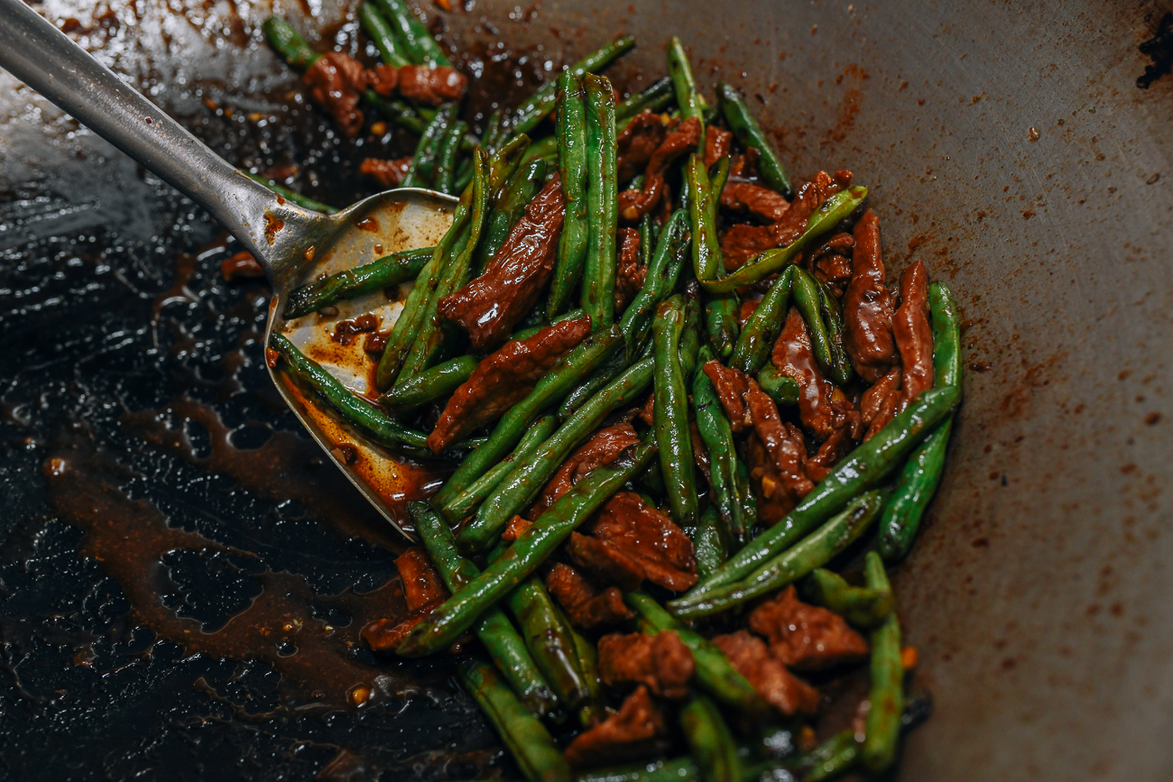 Beef and String Beans in wok