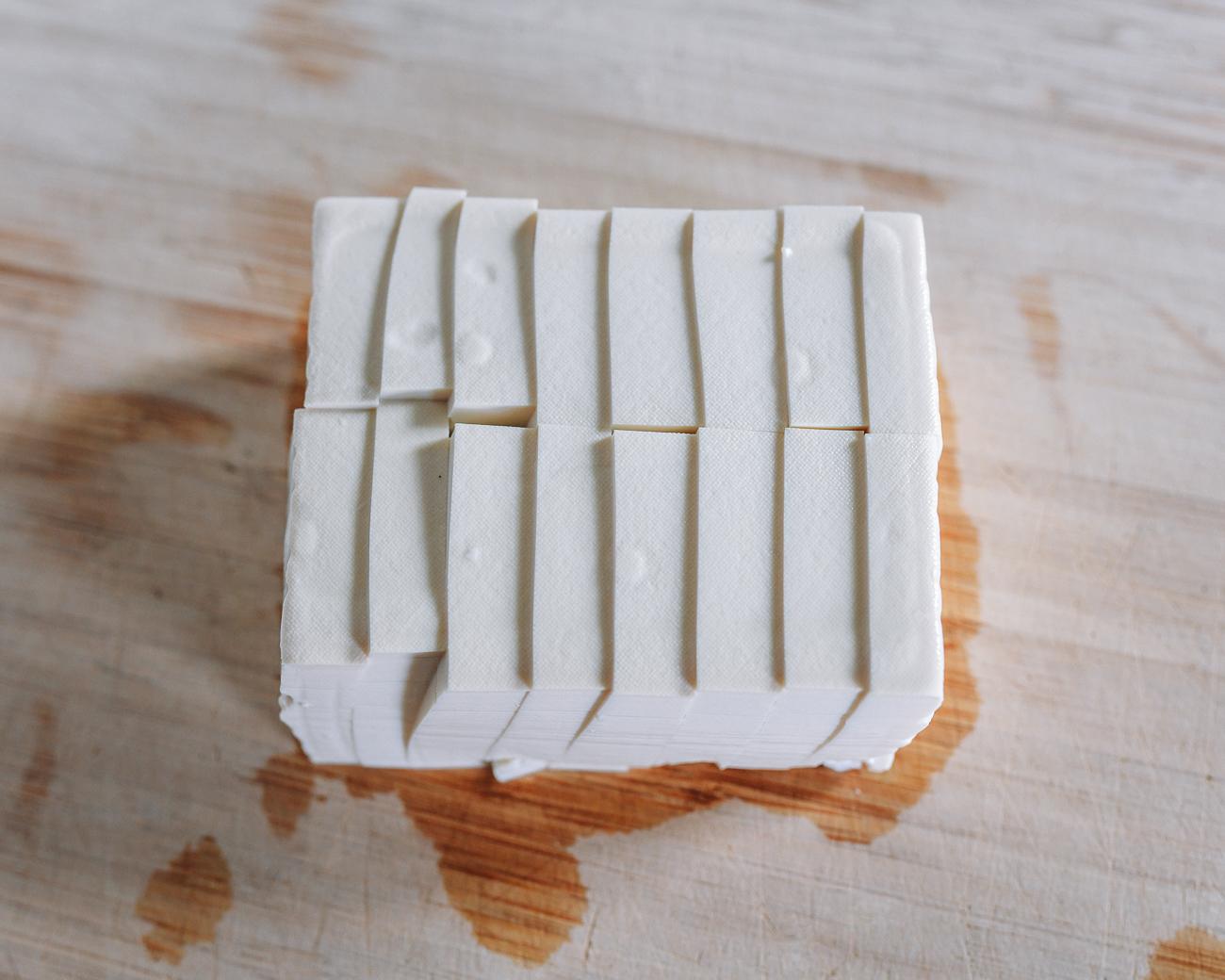 Sliced block of soft tofu