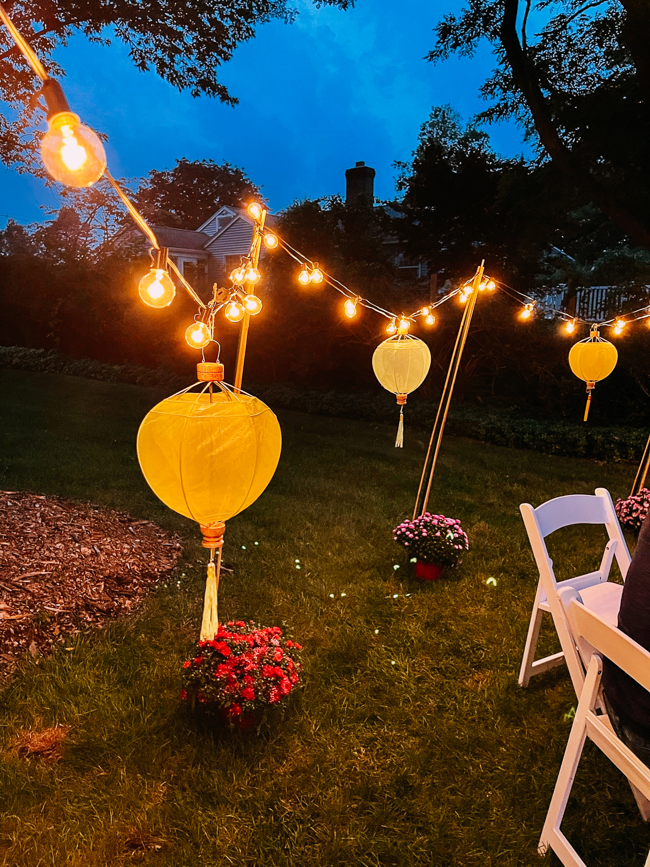 Chinese lanterns and string lights