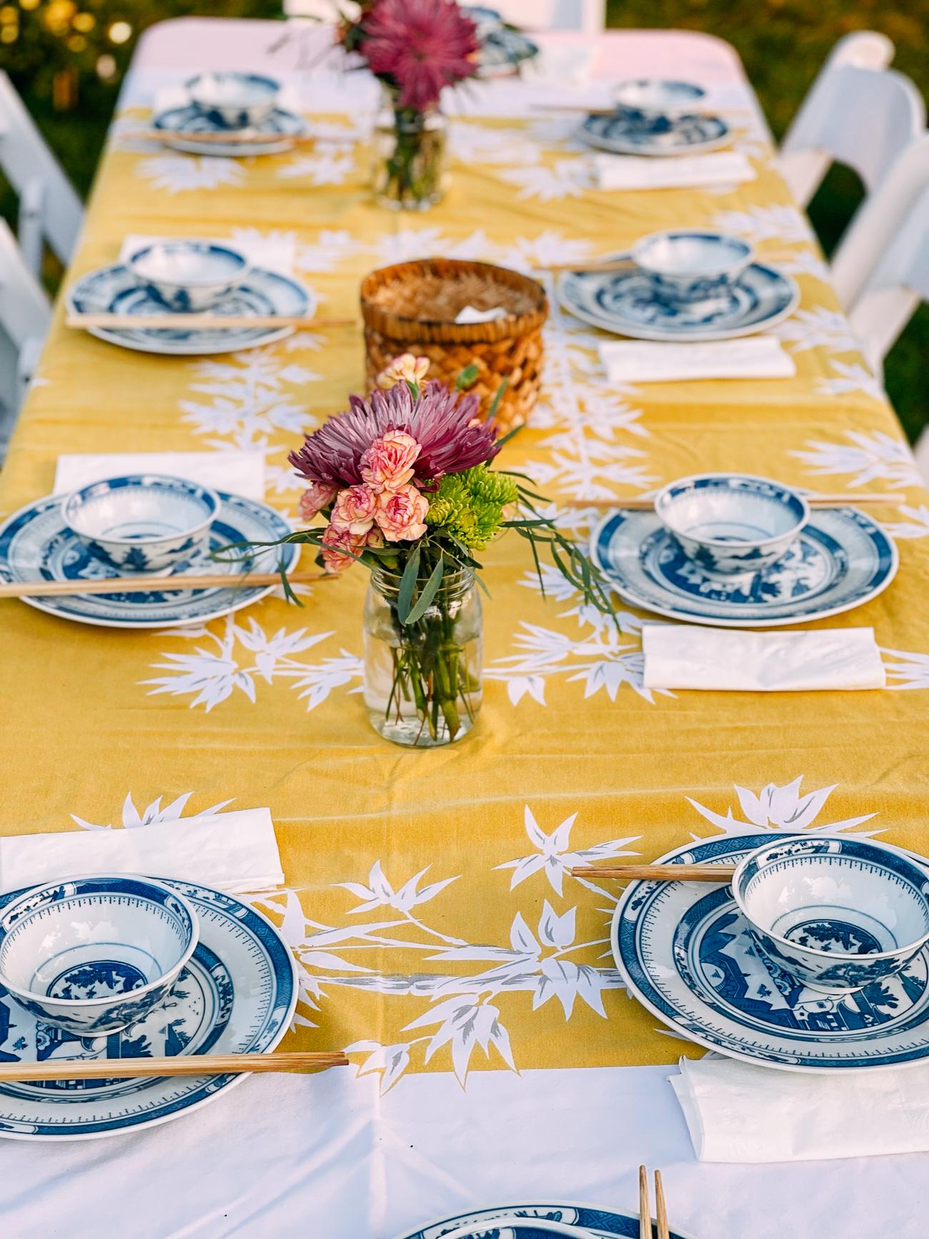 Table set for mid-autumn festival dinner