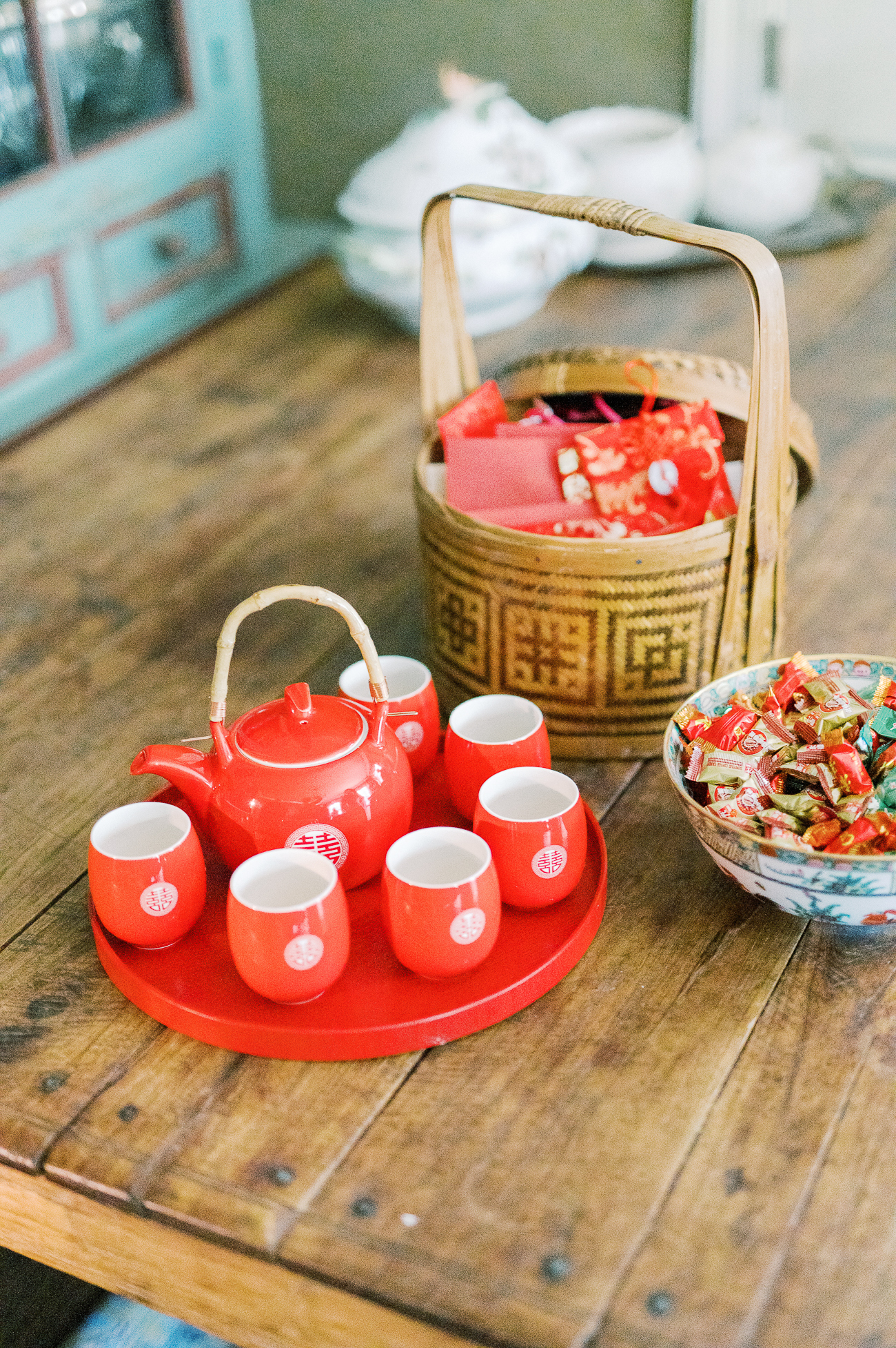 Double Happiness Chinese wedding tea set and candies