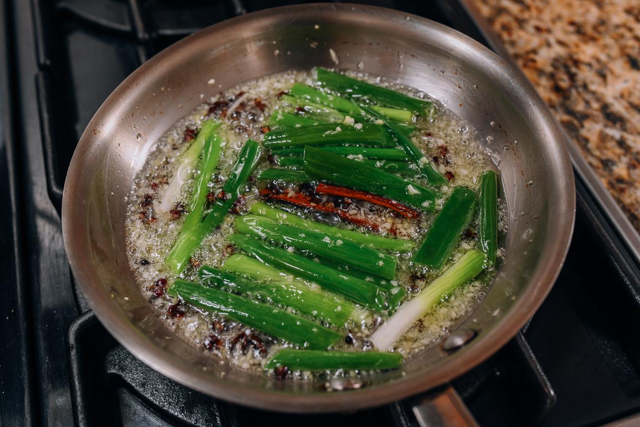 Infusing oil in saucepan