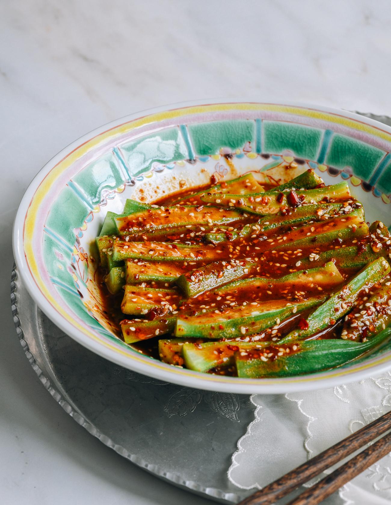 Spicy Sichuan Okra Salad