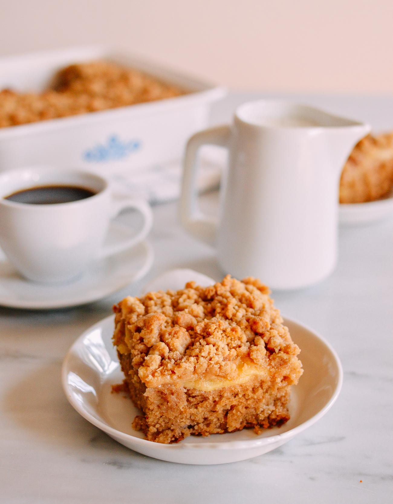 Slice of apple cinnamon coffee cake