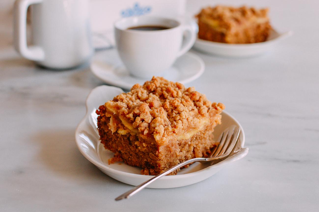 Apple Cinnamon Coffee Cake slice with fork