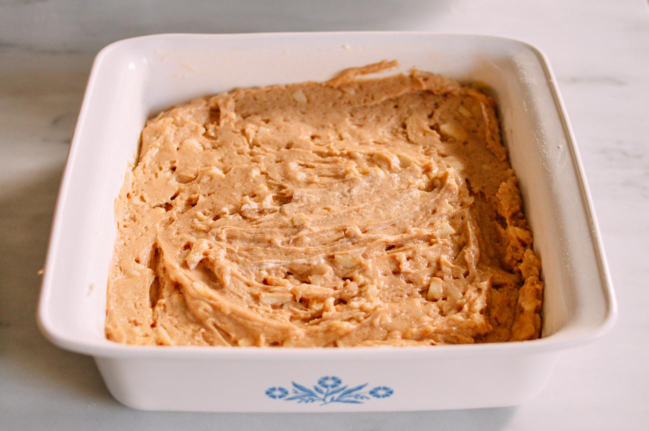 Coffee cake batter in baking pan