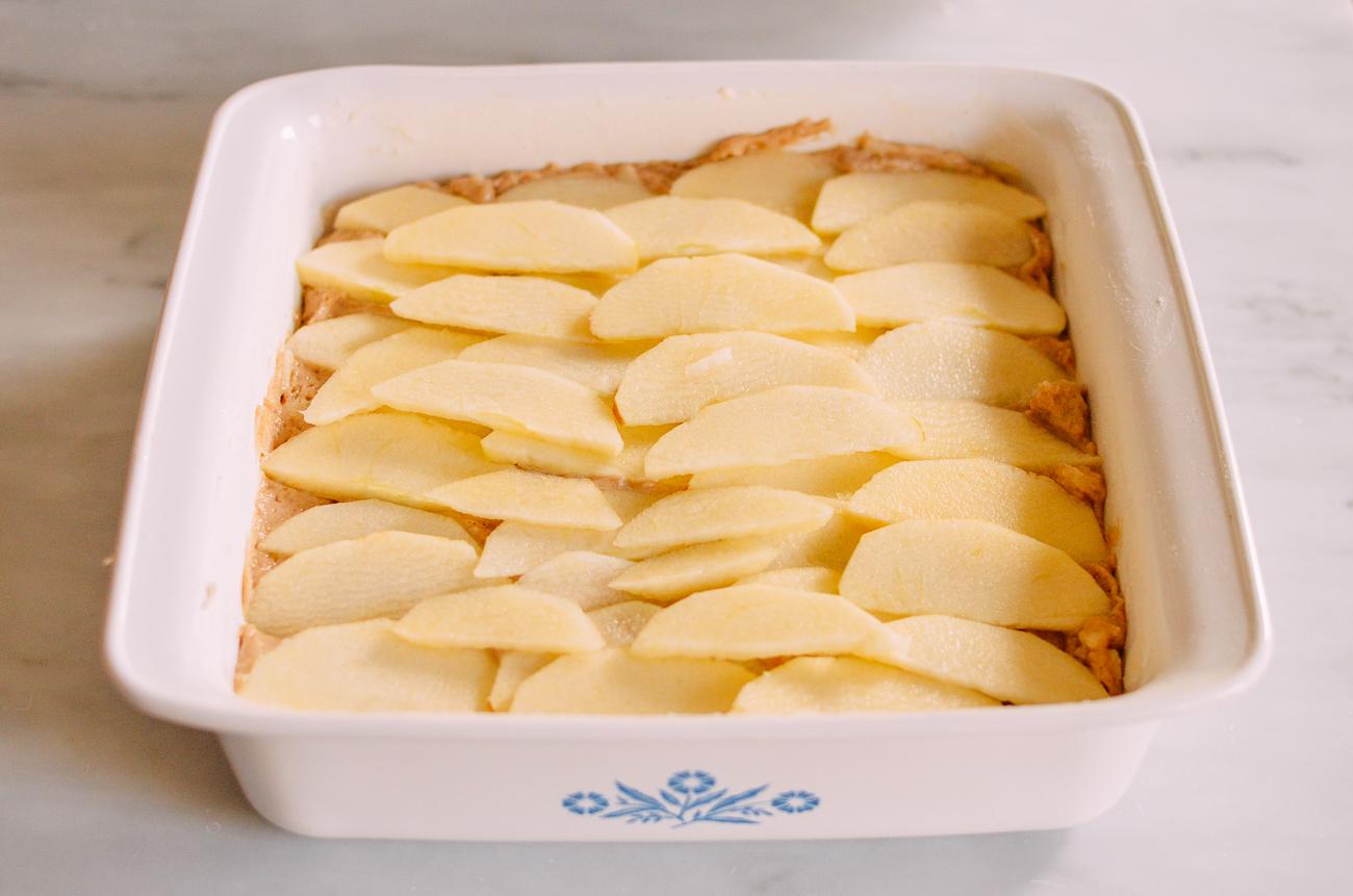Apple slices on coffee cake