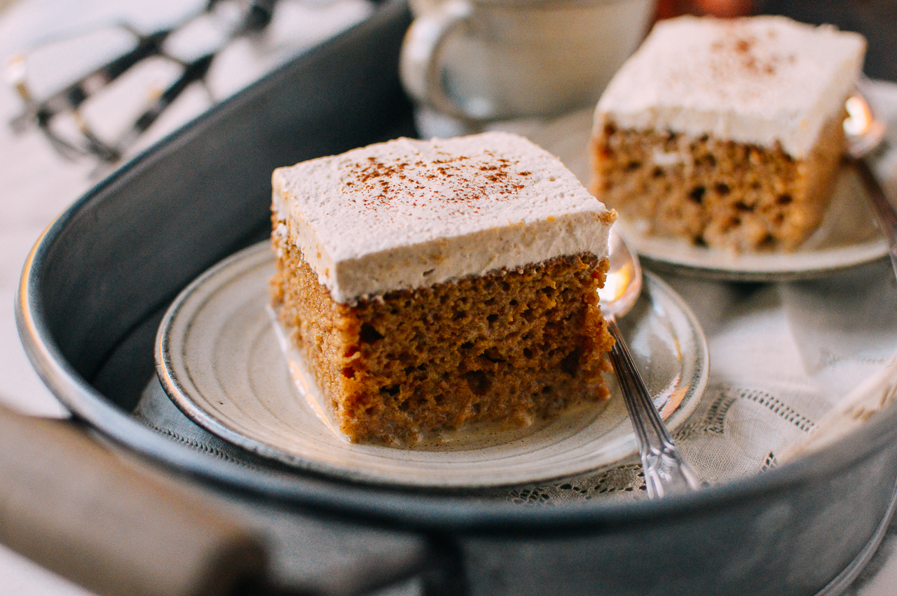 Slice of Pumpkin Tres Leches Cake with Spiced Cream