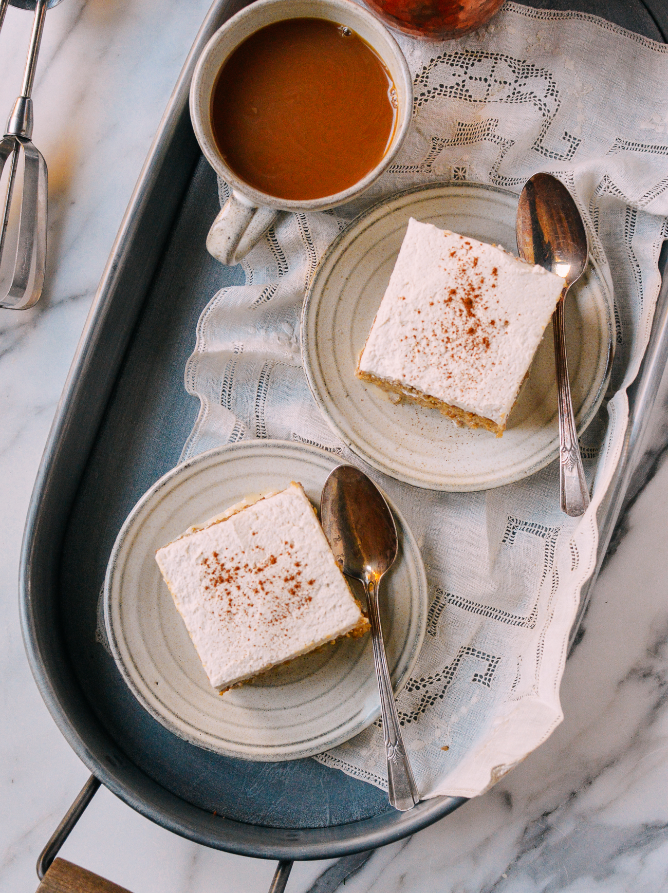 Slices of pumpkin tres leches cake