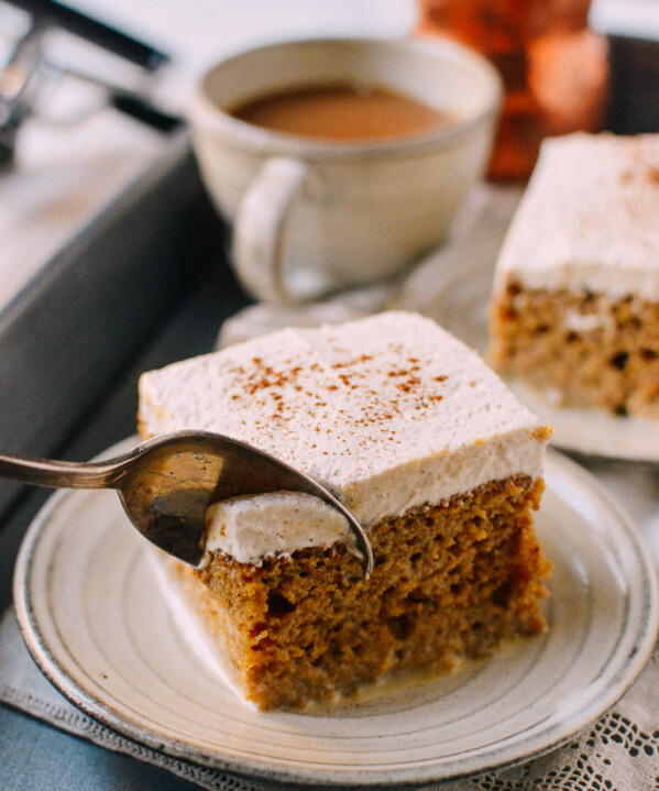 Digging into pumpkin tres leches cake with a spoon
